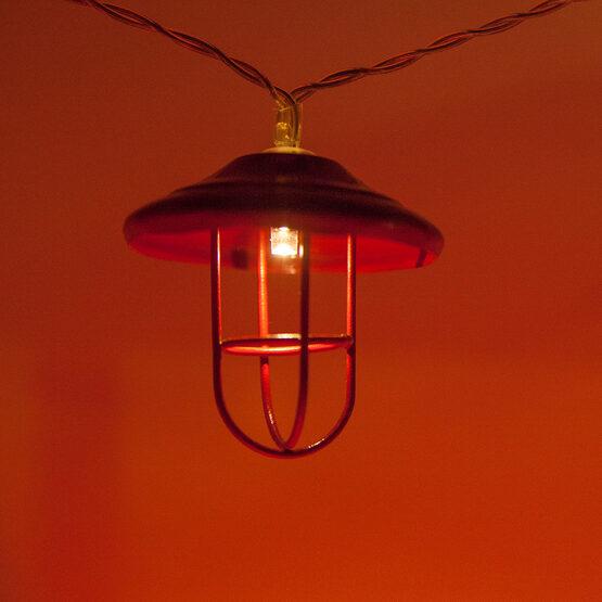 LED Red Lantern String Lights, 10 Warm White Lights