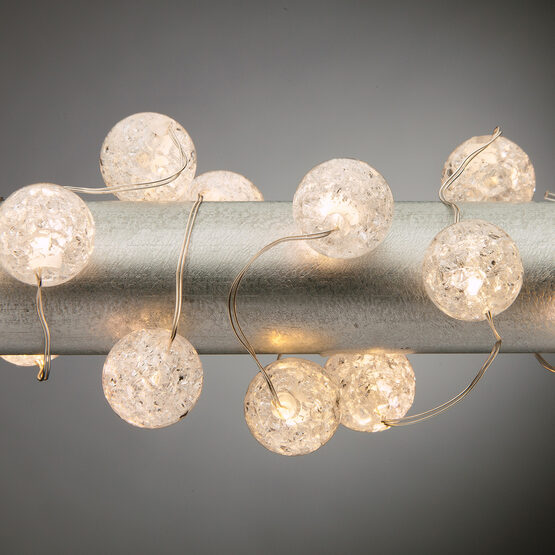 10' Crackle Bead LED Fairy Lights, Warm White, Silver Wire