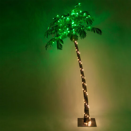 7' Curved LED Lighted Palm Tree with Green Canopy