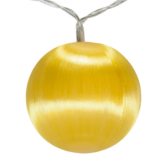 Battery Operated Gold Ball Ornament Light Set, 10 Gold LED Lights
