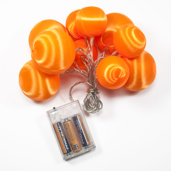 Battery Operated Orange Ball Ornament Light Set, 10 Amber LED Lights