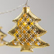 Battery Operated LED Golden Metal Christmas Tree String Lights, 10 Lights