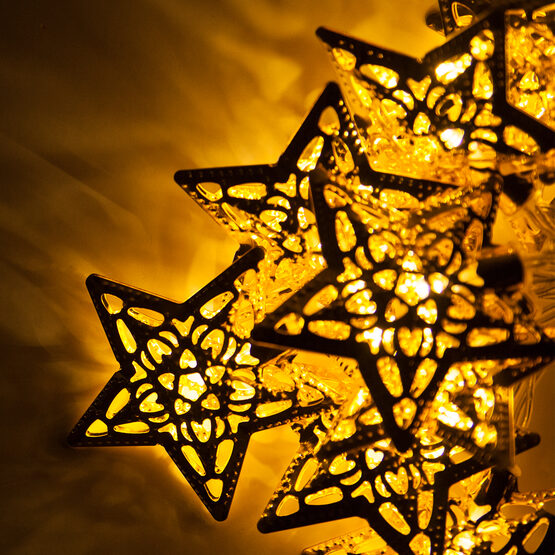 Battery Operated LED Golden Metal Star String Lights, 10 Warm White Lights