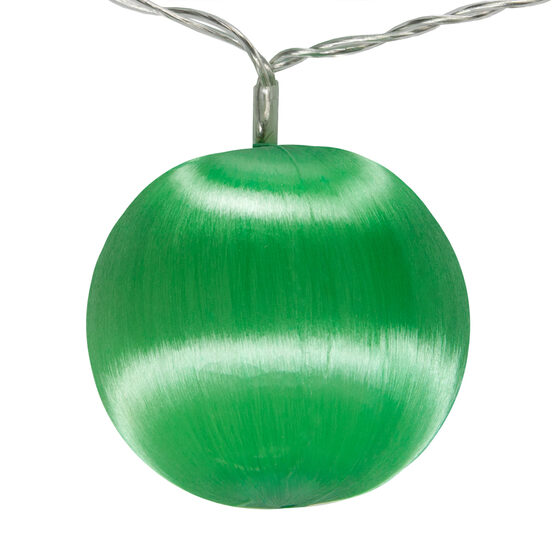 Battery Operated Green Ball Ornament Light Set, 10 Green LED Lights