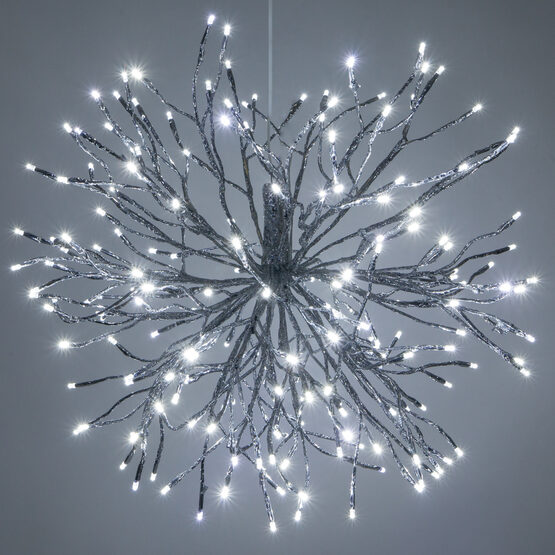 Silver Starburst LED Lighted Branches, Cool White Twinkle Lights, 1 pc