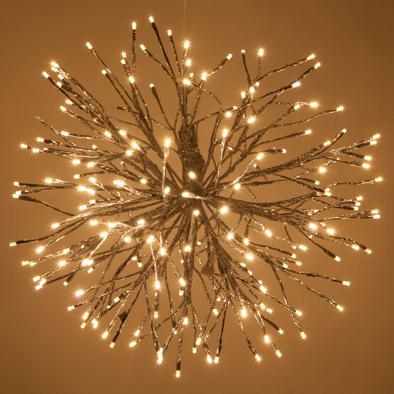 Silver Starburst LED Lighted Branches, Warm White Twinkle Lights, 1 pc