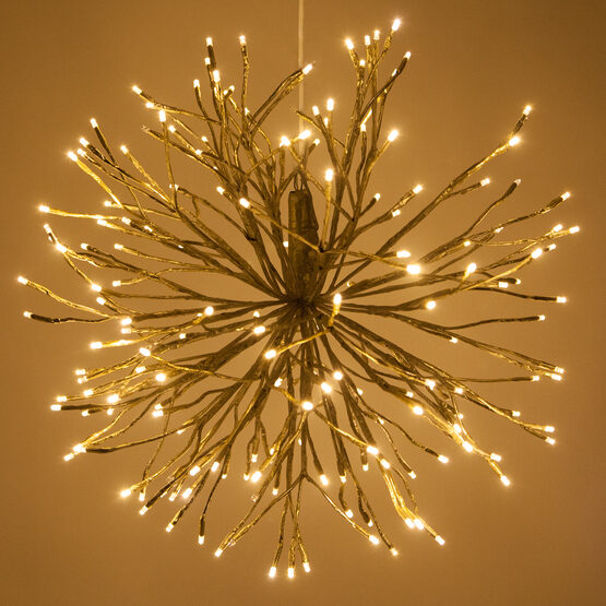 "24"" Gold Starburst LED Lighted Branches, Warm White Twinkle Lights, 1 pc"