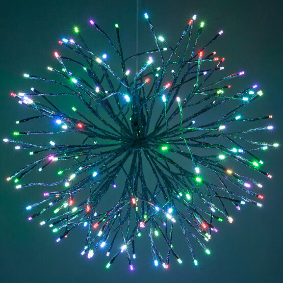 "24"" Silver Starburst LED Lighted Branches, Multicolor Twinkle Lights, 1 pc"
