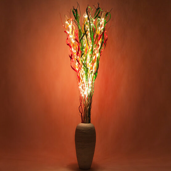 Multicolor Curly LED Lighted Branches, Red, Green, Warm White Lights