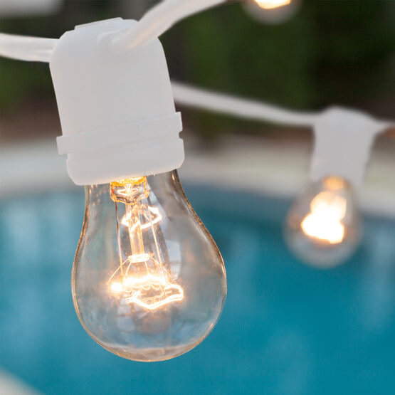 Commercial Patio String Lights, Clear A15 Bulbs, White Wire