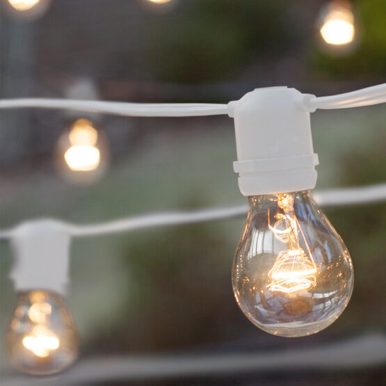 Commercial Patio String Lights, Clear A19 Bulbs, White Wire