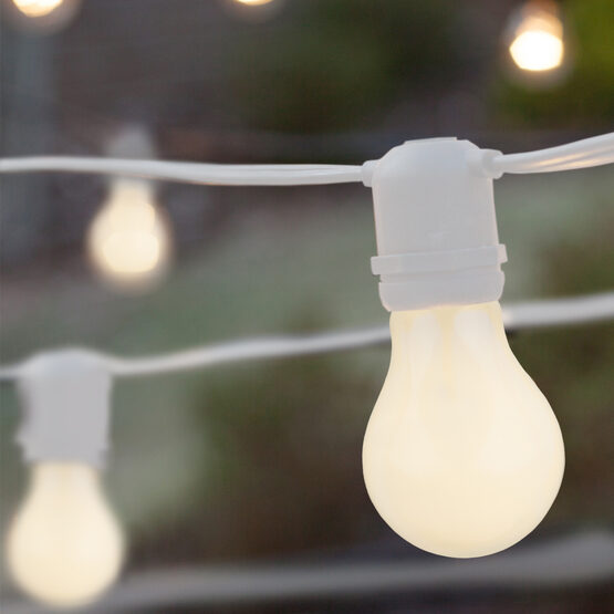 Commercial Patio String Lights, White A19 Opaque Bulbs, White Wire