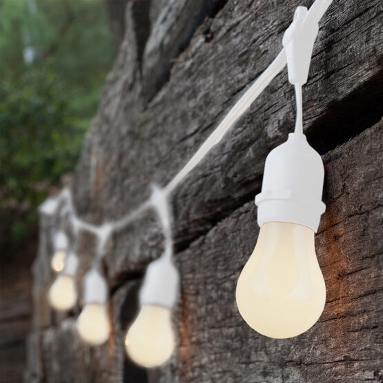 Commercial Patio String Lights, White A15 Opaque Bulbs, Suspended, White Wire