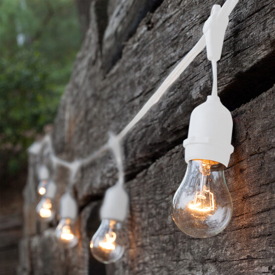 Commercial Patio String Lights, Clear A15 Bulbs, Suspended, White Wire