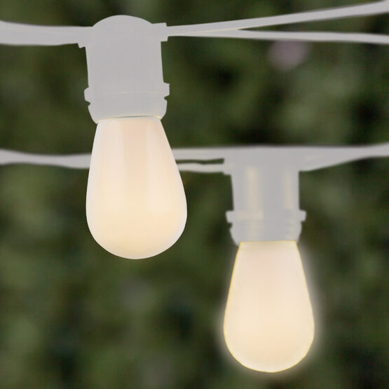Commercial Patio String Lights, White S14 Opaque Bulbs, White Wire