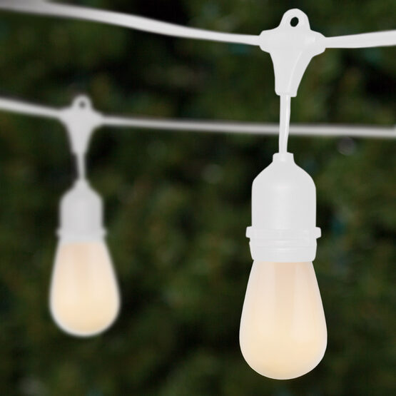 Commercial Patio String Lights, White S14 Opaque Bulbs, Suspended, White Wire