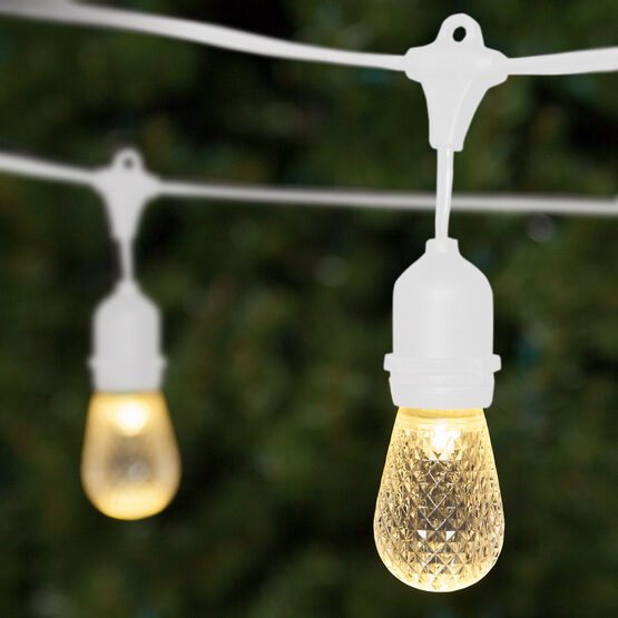 Commercial Patio String Lights, Warm White S14 LED Bulbs, Suspended, White Wire