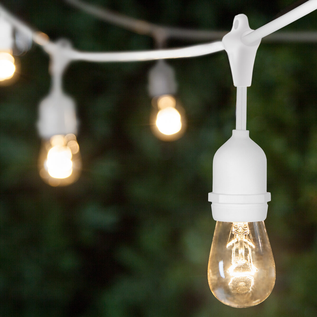 Commercial Patio String Lights, Clear S14 Bulbs, Suspended, White Wire