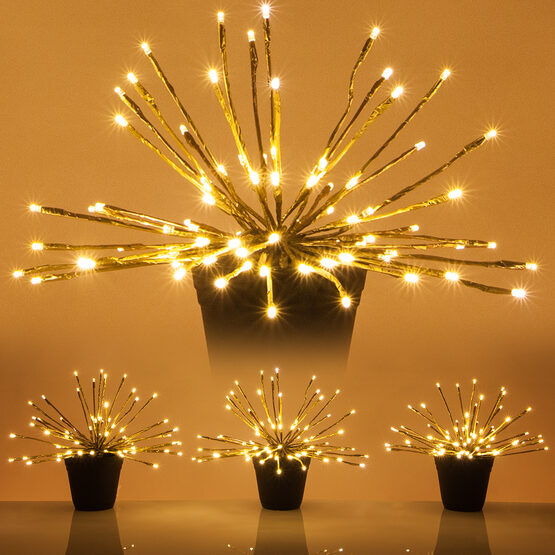 Gold Starburst LED Lighted Branches, Warm White Twinkle Lights, 3 pc