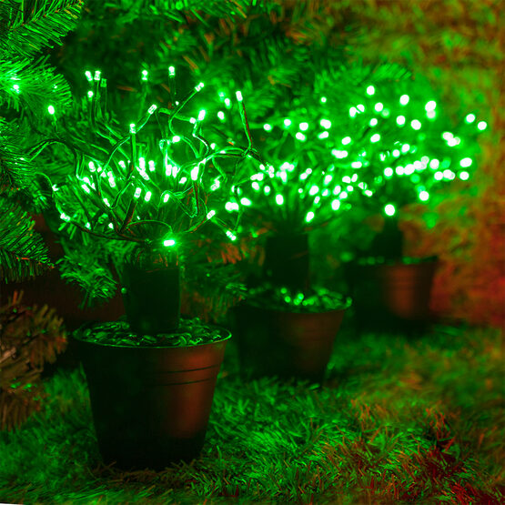 Green Starburst LED Lighted Branches, Green Twinkle Lights, 3 pc