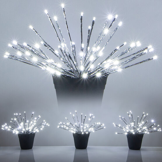 """15"""" Silver Starburst LED Lighted Branches, Cool White Twinkle Lights, 3 pc"""