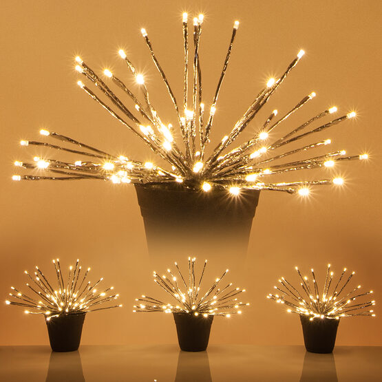 Silver Starburst LED Lighted Branches, Warm White Twinkle Lights, 3 pc