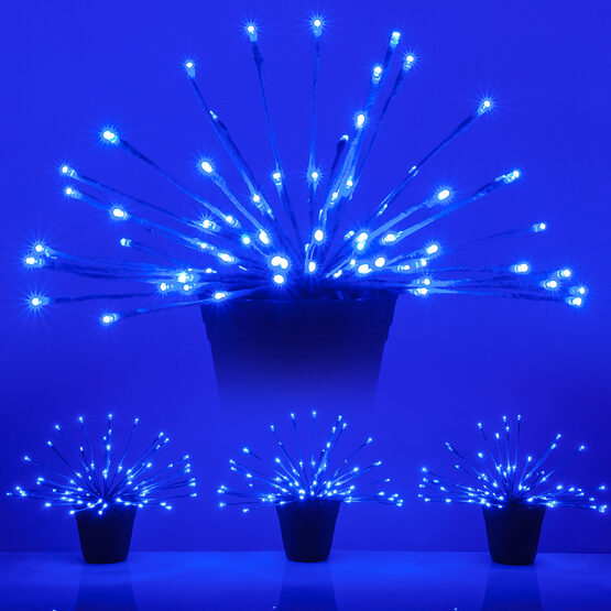 """15"""" Blue Starburst LED Lighted Branches, Blue Twinkle Lights, 3 pc"""