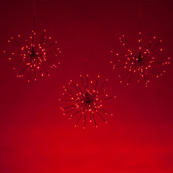 Red Starburst LED Lighted Branches, Red Twinkle Lights, 3 pc