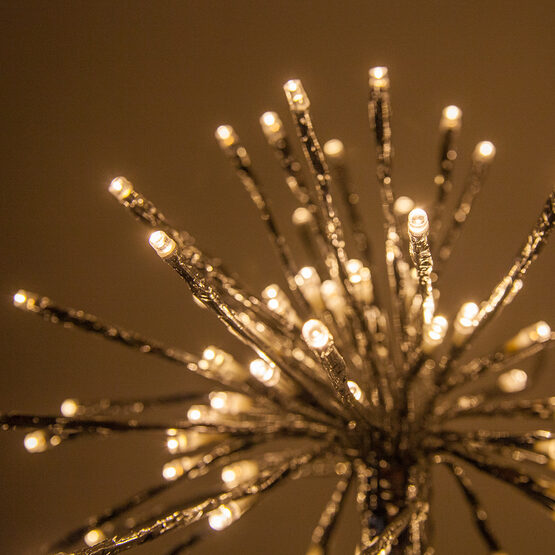 Silver Starburst LED Lighted Branches, Warm White Lights, 3 pc