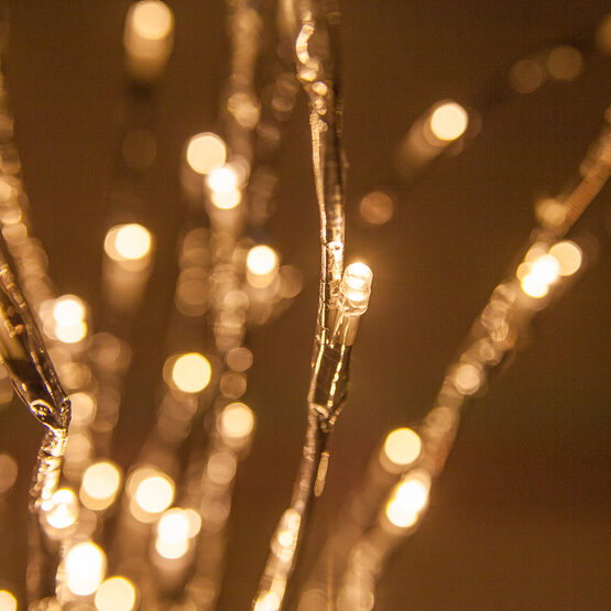 Silver LED Lighted Branches, Warm White Twinkle Lights, 1 pc