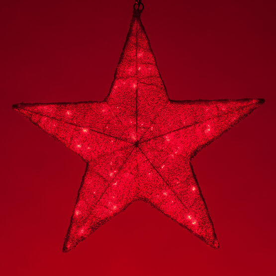Red LED Hanging Star Light, Metallic Mesh Covered Frame
