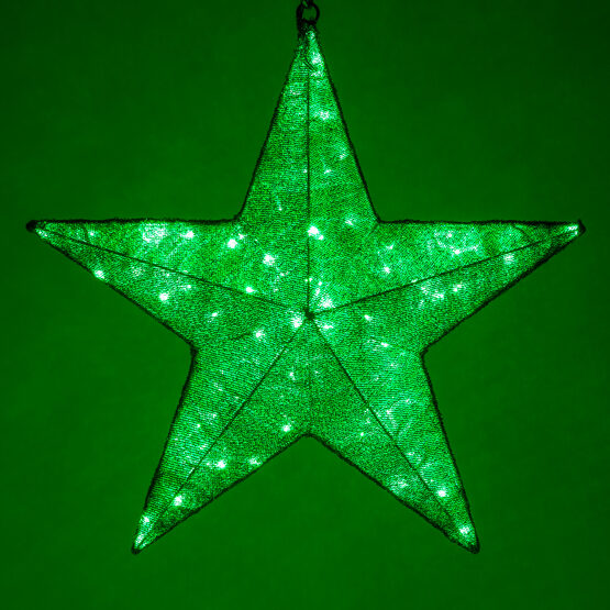 Green LED Hanging Star Light, Metallic Mesh Covered Frame