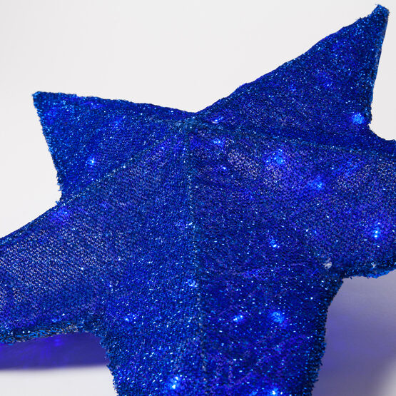 Blue LED Hanging Star Light, Metallic Mesh Covered Frame