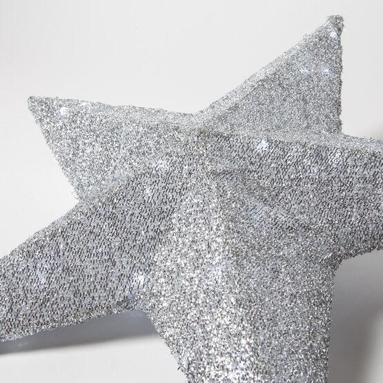 Silver LED Hanging Star Light, Metallic Mesh Covered Frame
