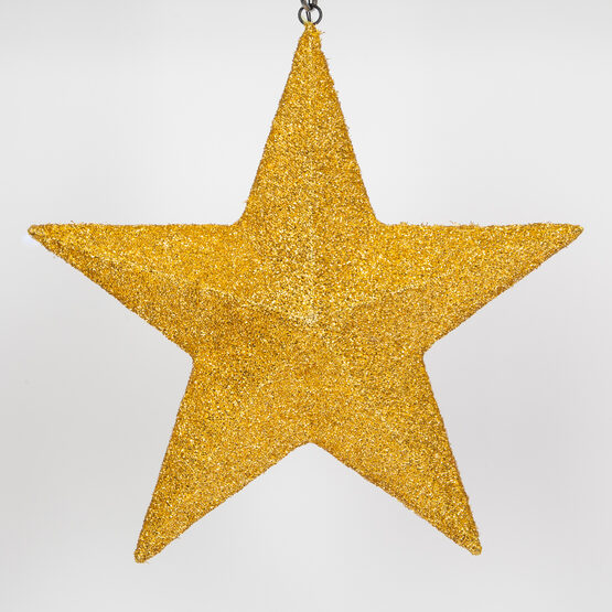 Gold LED Hanging Star Light, Metallic Mesh Covered Frame