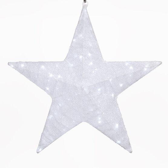 White LED Hanging Star Light, Metallic Mesh Covered Frame