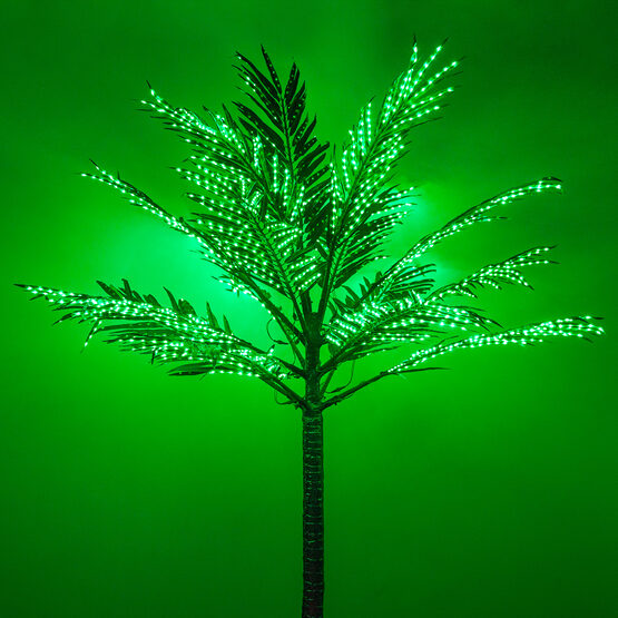 8.2' Curved Commercial LED Lighted Palm Tree with Green Canopy
