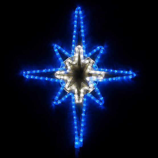 Blue and Cool White Bethlehem Star with Star Center