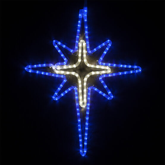 LED Blue and Cool White Bethlehem Star with Cross Center