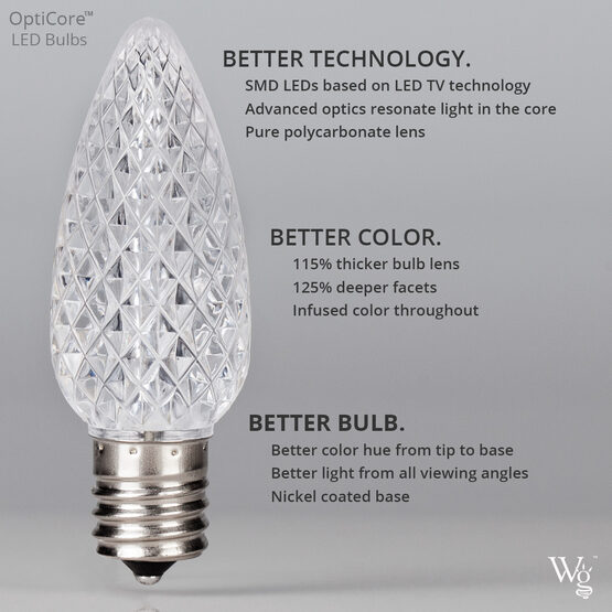 C7 Smooth OptiCore LED Light Bulb, Multicolor