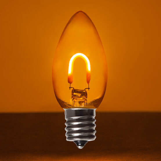C9 FlexFilament TM Vintage LED Light Bulb, Amber / Orange Transparent Glass