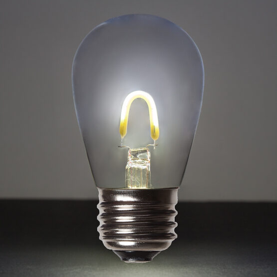 S14 FlexFilament TM Vintage LED Light Bulb, Cool White Transparent Glass