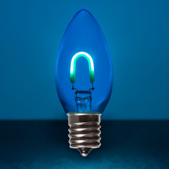 C9 Vintage LED Light Bulb, Blue Transparent Glass