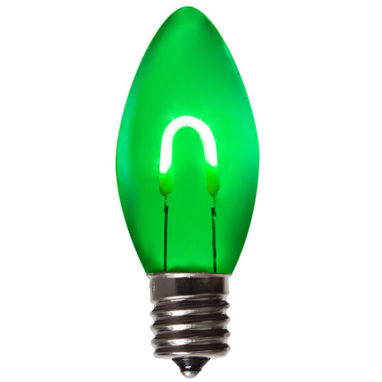 C9 Vintage LED Light Bulb, Green Transparent Acrylic