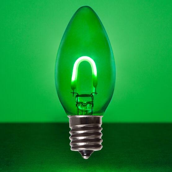 C9 Vintage LED Light Bulb, Green Transparent Glass
