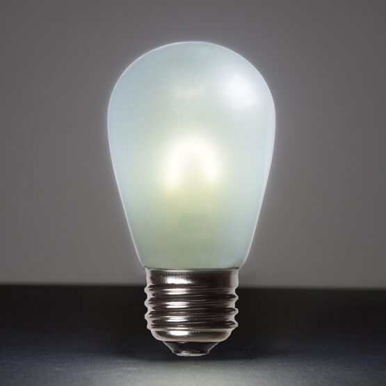 S14 Vintage LED Light Bulb, Cool White Satin Glass