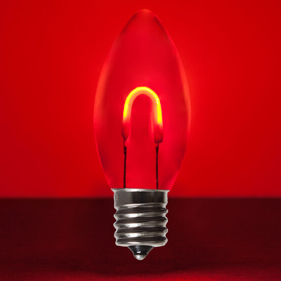 C9 FlexFilament TM Vintage LED Light Bulb, Red Transparent Acrylic