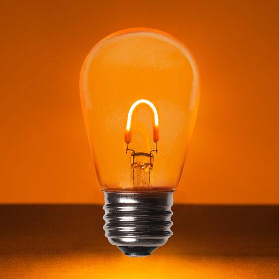 S14 Vintage LED Light Bulb, Amber / Orange Transparent