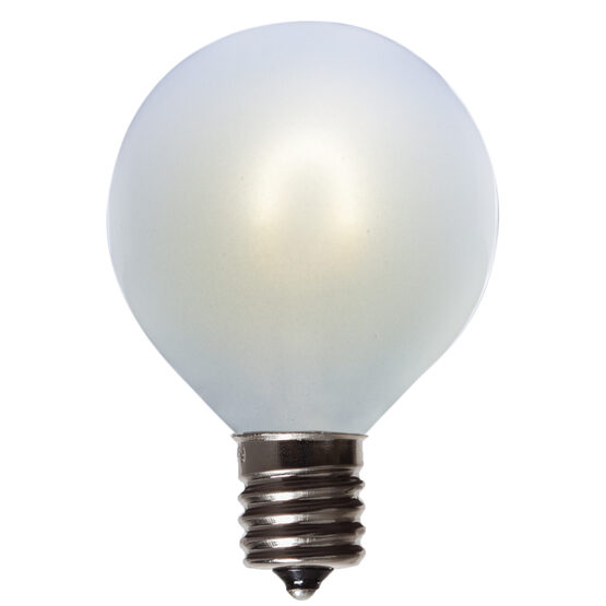 G50 Vintage LED Light Bulb, Cool White Satin Glass