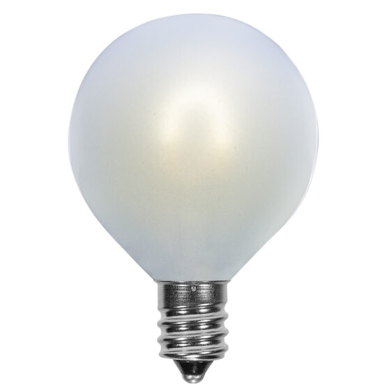G50 Vintage LED Light Bulb, Cool White Satin Glass